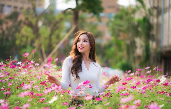 Picture girl, flowers, meadow, Asian, cutie, bokeh