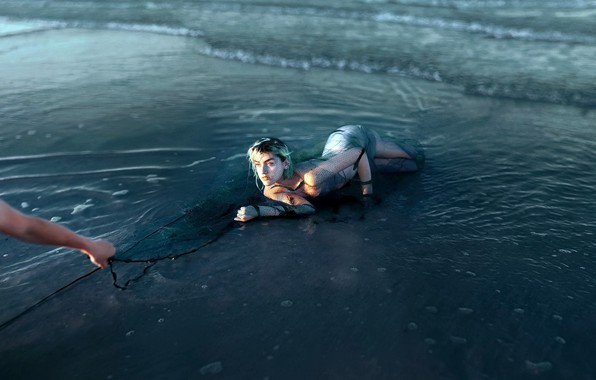 Picture sea, network, shore, mermaid