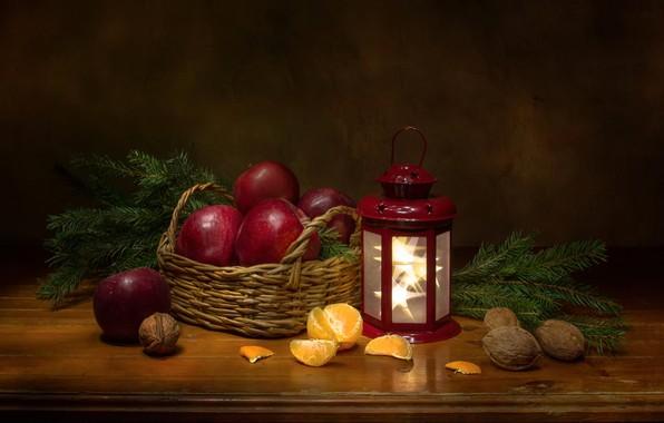 Picture branches, apples, spruce, lantern, fruit, nuts, still life, basket, Mandarin, Феденкова Татьяна
