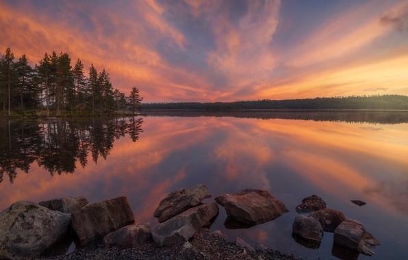 Picture summer, the sky, trees, sunset, lake, reflection, stones, Norway, Norway, RINGERIKE, Ringerike