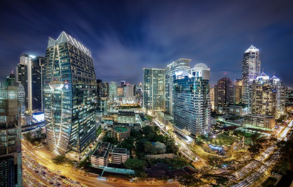 Picture night, the city, lights, Thailand, Bangkok