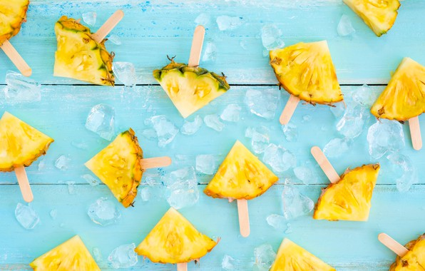 Picture fruit, ice, summer, pineapple, wood, slices, fruit, pineapple, slice