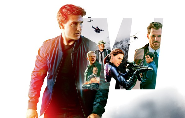 Picture collage, white background, action, poster, Tom Cruise, characters, Tom Cruise, Simon Pegg, Henry Cavill, Henry …