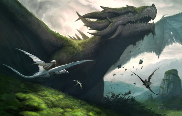 Picture fantasy, horns, landscape, nature, wings, digital art, artwork, fantasy art, creature, Dragons