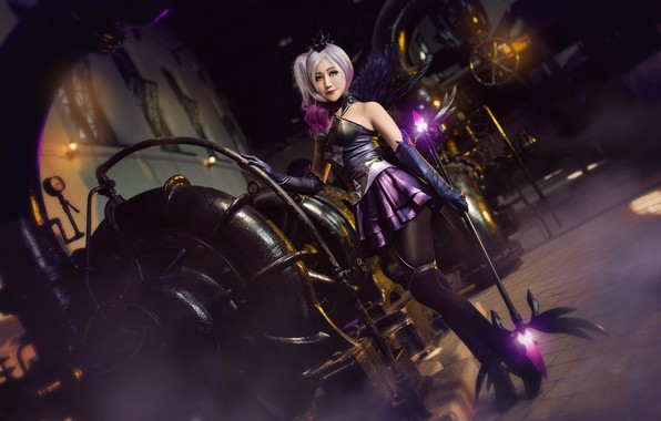 Picture purple, look, girl, lights, pose, style, weapons, background, magic, feet, plant, dark, wings, technique, stockings, …