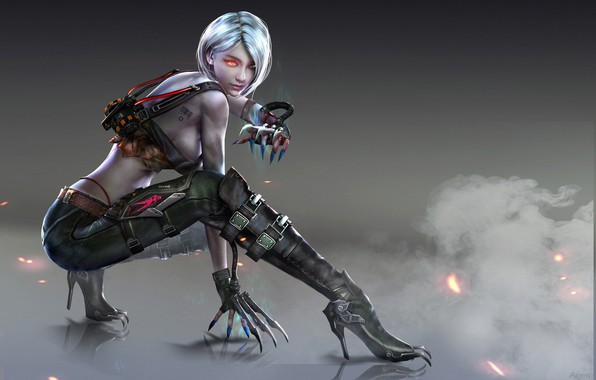 Picture look, girl, pose, smoke, boots, fantasy, art, claws, gloves