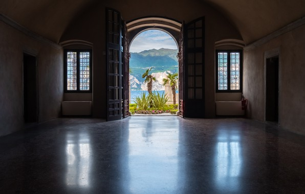 Picture wallpaper, windows, sea, ocean, landscape, flowers, mountains, italy, room, interior, palm trees, doors, landscape view