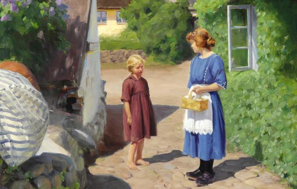 Picture Danish painter, 1922, Danish painter, Hans Andersen Brendekilde, Hans Andersen Brendekilde, oil on canvas, Summer …