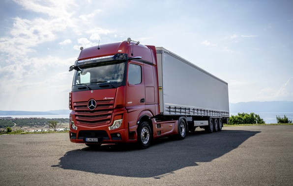 Picture red, Mercedes-Benz, Parking, tractor, 4x2, Actros, the trailer