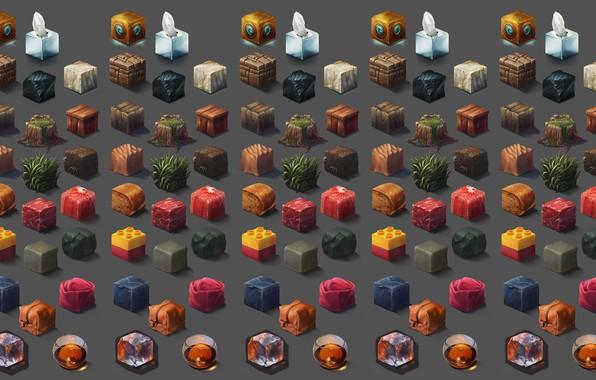 Picture cubes, texture, art, Riot Games, Ayhan Aydogan