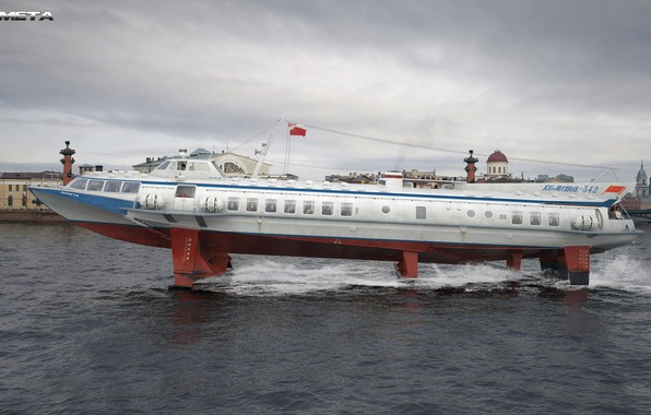 "Picture Water, Comet, Speed, The ship, USSR, Passenger, Rendering, Side view, Ship, Denis Eremenko, Denis_er, ""Comet"", ..."