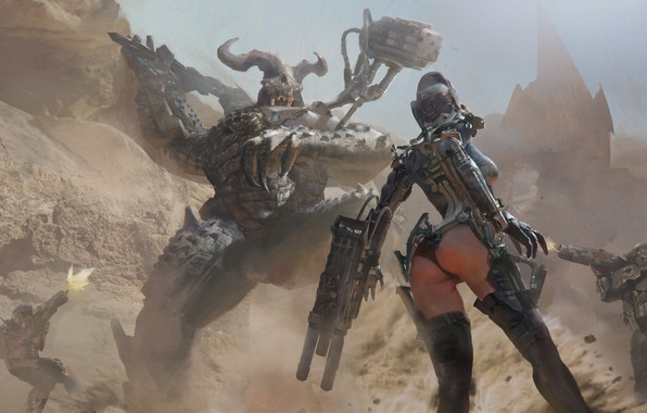 Picture ass, girl, weapons, fiction, monster, dust, art, shooting, sci-fi