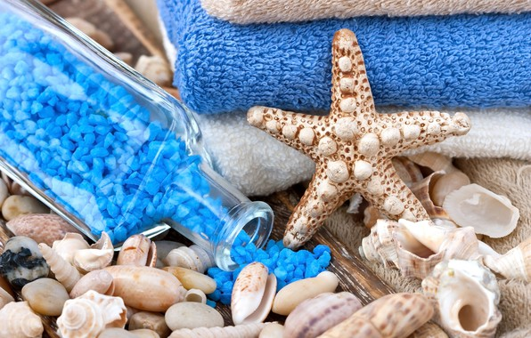 Picture bottle, relax, shell, starfish, Spa, spa, bath salt