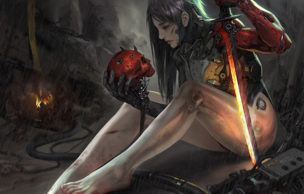 Picture look, girl, pose, weapons, skull, cyborg, Cyborg, Sci-Fi