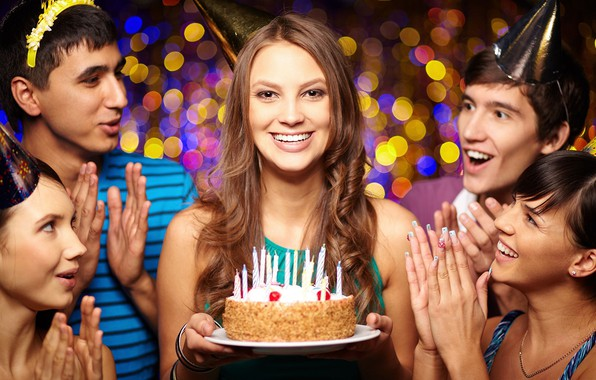 Picture girl, smile, cake, friends, Birthday