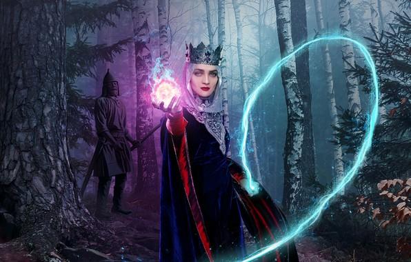 Picture forest, look, magic, crown, makeup, statue, Ekaterina Vilkova, The last Bogatyr, the Princess Barbara