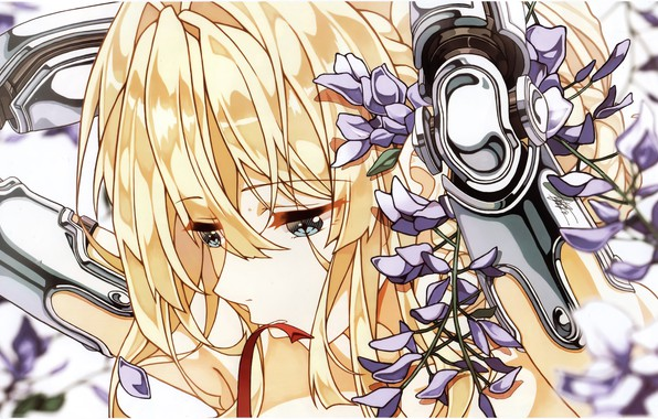 Picture face, blue eyes, sad, violet, bangs, hands behind head, iron hand, Violet Evergarden, by Cheese …