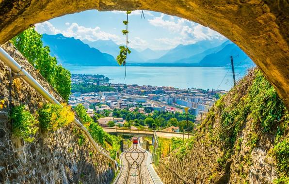 Picture mountains, lake, Switzerland, Alps, Vevey, Vevey