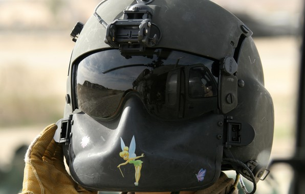 Picture girl, helmet, Sikorsky, UH-60, Black Hawk, Tinker Bell, protective, gunner
