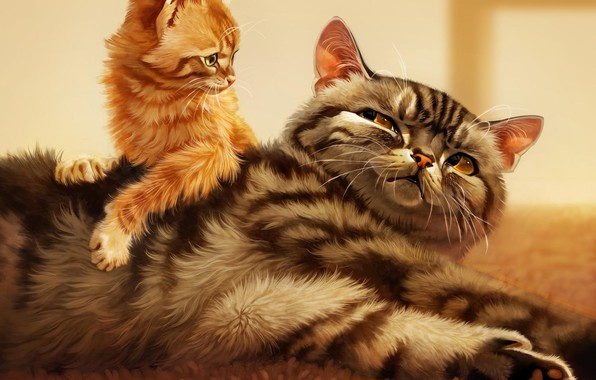 Picture cat, kitty, striped, by Pixxus