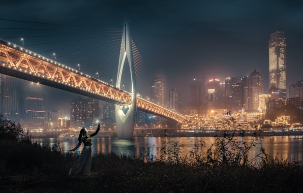 Picture girl, night, bridge, the city, lights