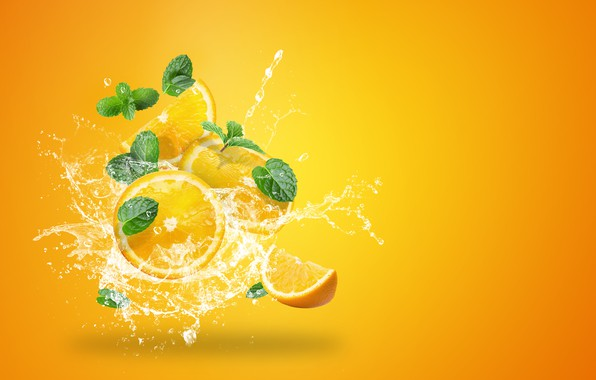 Picture water, squirt, yellow, background, splash, oranges, citrus