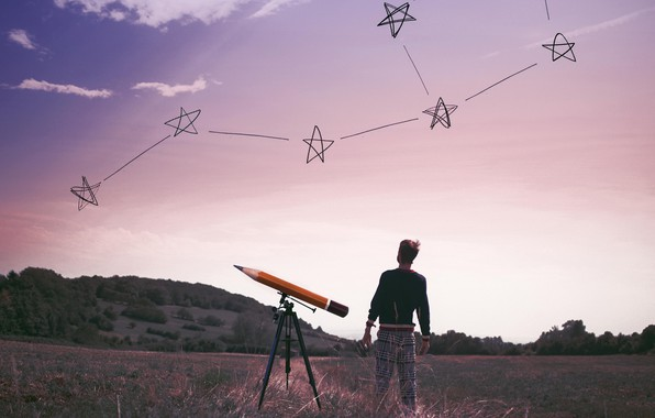 Picture the sky, people, stars, flat land