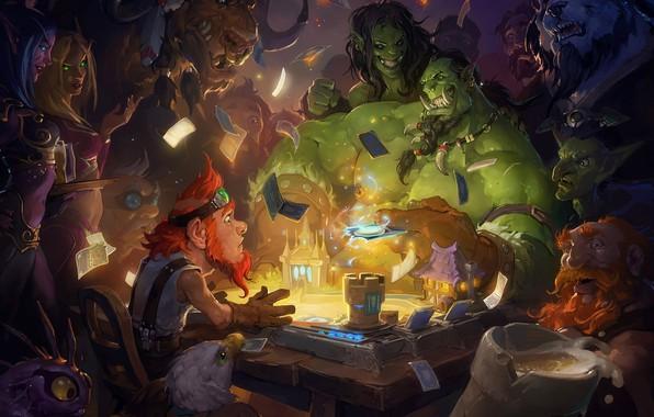 Picture the game, fantasy, art, WOW, dwarf, the excitement, Orc, Hearthstone Launch Art, Laurel D Austin