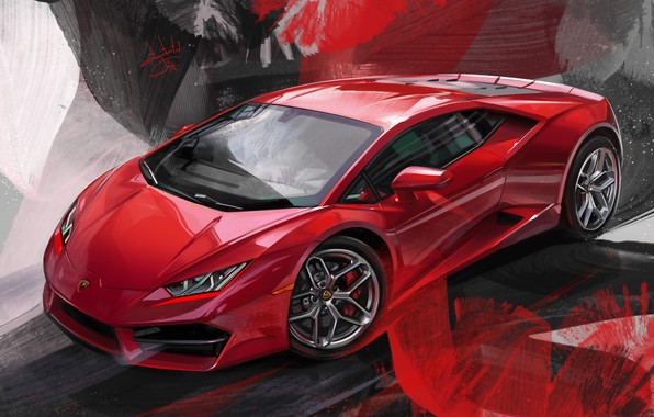 Picture Red, Car, Illustration, Supercar, Lamborghini Huracan, Alexander Sidelnikov, red lambo