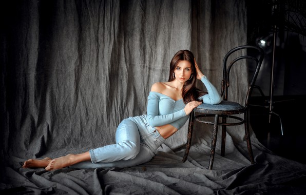 Picture look, sexy, pose, model, portrait, jeans, makeup, figure, hairstyle, chair, brown hair, topic, legs, beauty, …