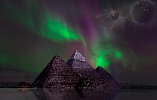 Picture space, night, rendering, fiction, planet, Northern lights, pyramid, pond, Egyptian