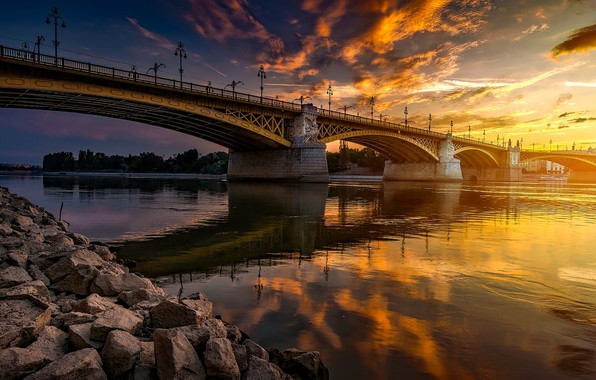 Picture sunset, bridge, reflection, river, stones, Hungary, Budapest