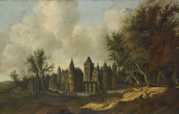Picture landscape, oil, picture, canvas, The Castle Of Egmond, 1653, G.W. Berckhout