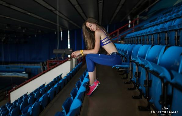Picture girl, long hair, legs, brown hair, photo, photographer, stadium, model, lips, face, brunette, body, belly, …