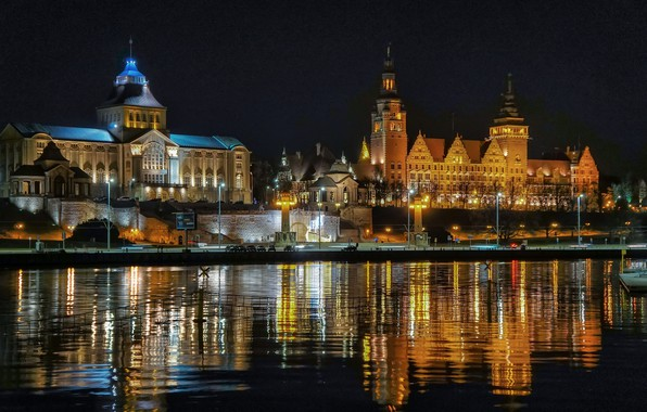 Picture night, lights, Poland, Szczecin