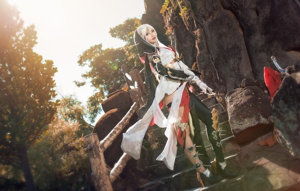 Picture look, girl, light, trees, nature, pose, style, stones, weapons, rocks, feet, sword, figure, blonde, costume, …