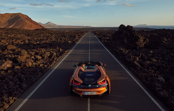 Photo wallpaper Roadster, rear view, 2018, BMW i8
