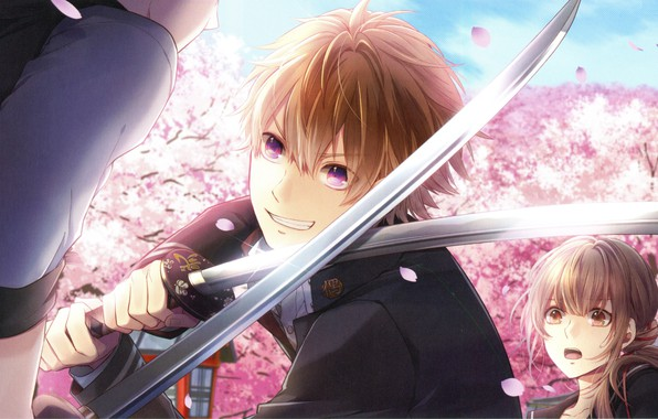 Picture students, katana, the fight, visual novel, fight, the guy with the girl, Surah Of The …