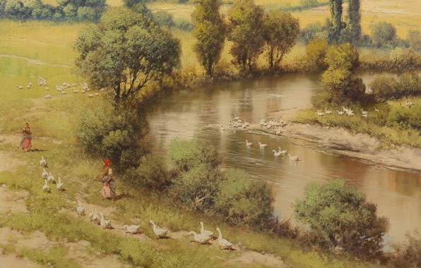 Picture Laszlo Neogrady, River landscape, Hungarian painter, Laszlo Nogradi, Hungarian painter, Riverscape