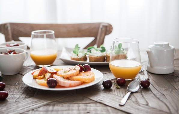Picture Glass, Fruit, Spoon, Cherry, Food, Breakfast, Juice