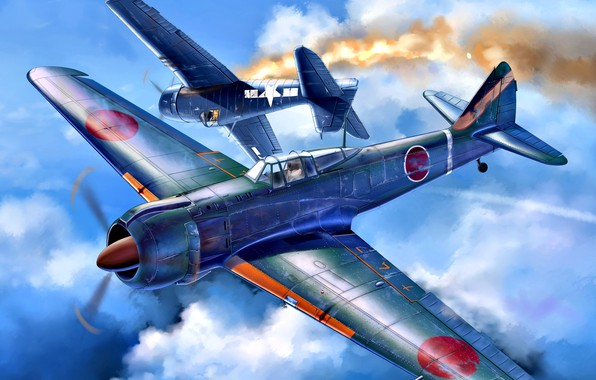 Picture Kawasaki, carrier-based fighter, Ki-100, WWII, The Imperial army of Japan, F6F-5, F6F Hellcat, Radial engine, …