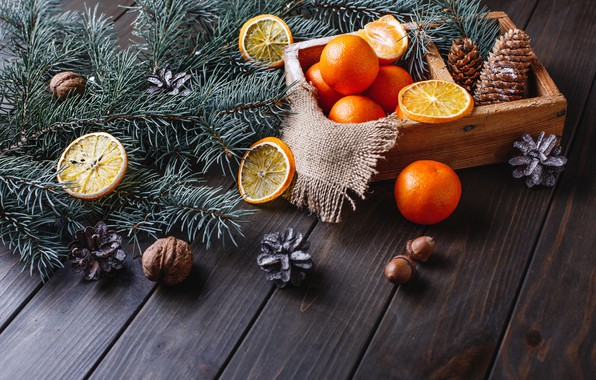 Picture decoration, oranges, New Year, Christmas, Christmas, wood, fruit, orange, New Year, tangerines, decoration, tangerine, Merry, …