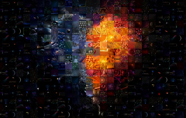 """Picture abstraction, rendering, black background, fantasy author, the texture of the pictures, """"Burning heart"""""""