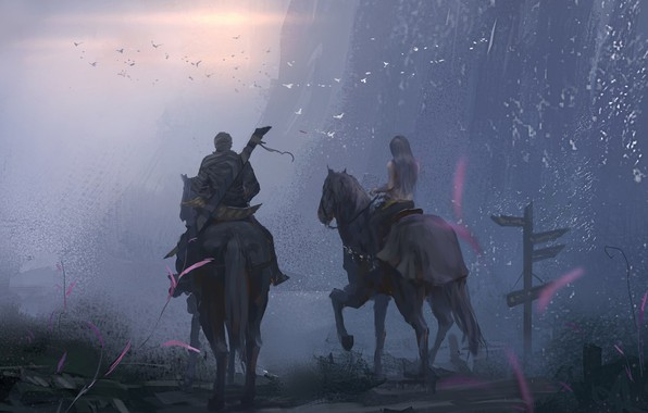 Picture girl, sword, twilight, weapon, sunset, cross, evening, boy, horses, couple, digital art, knights, artwork, warriors, …