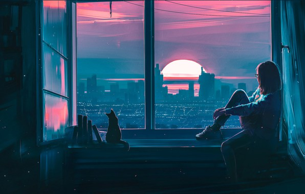 Picture Sunset, Girl, The city, Cat, View, Cat, Window, Fantasy, Landscape, Art, Sunset, Concept Art, Characters, ...