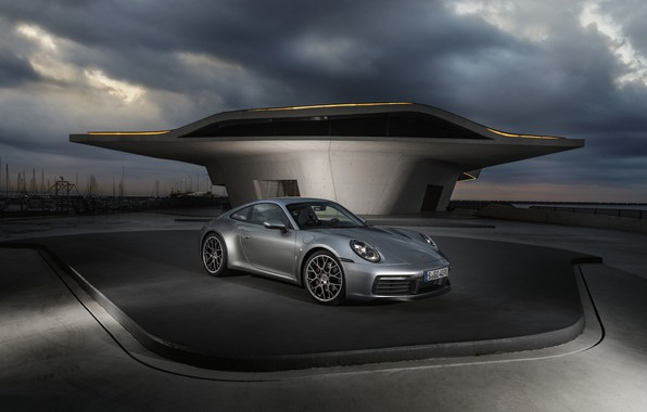 Picture coupe, 911, Porsche, cloudy, Carrera 4S, 992, 2019