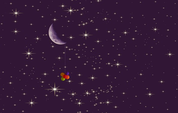 Picture balls, the moon, stars