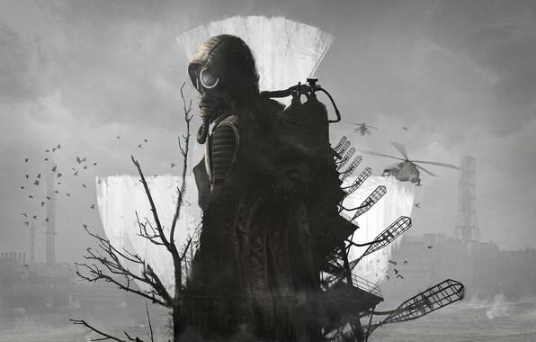 Picture Tree, Birds, Radiation, Gas mask, Stalker, Stalker, Chernobyl, Pripyat, Art, Helicopter, S. T. A. L. …