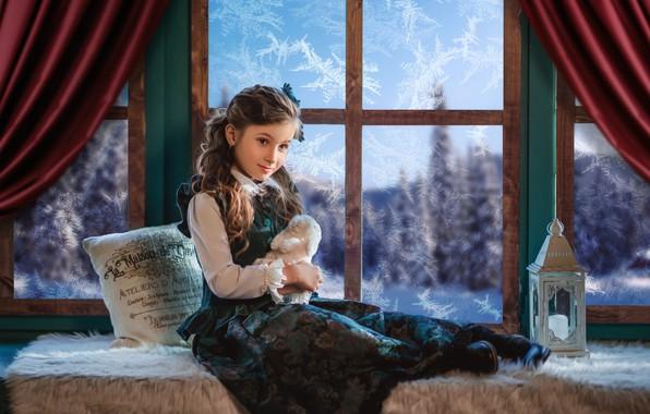 Picture toy, rabbit, window, frost, girl, lantern, pillow, Bunny, sundress, on the windowsill, Диана Липкина
