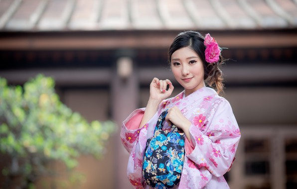 Photo wallpaper girl, smile, kimono, Asian, cutie